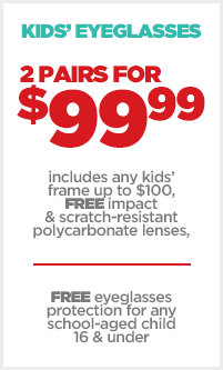 JCPenney Optical Kids Eyeglasses Sale - 2 Pairs for $99.99